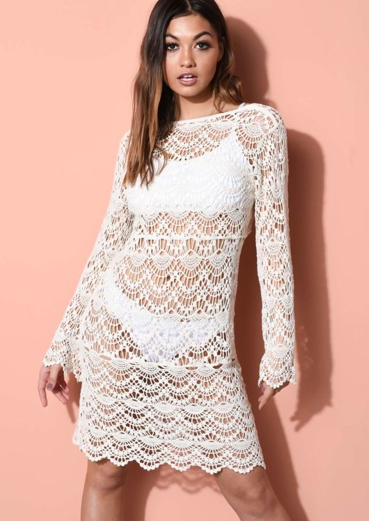 Crochet V Neck Beach Cover Up Dress Beige