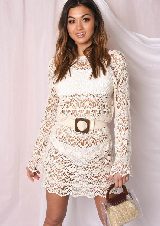 Crochet V Neck Cover Up Dress Beige