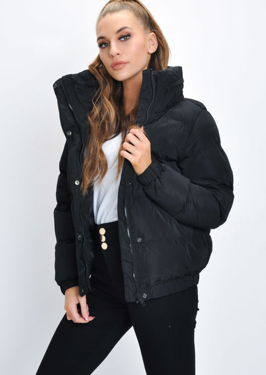 Crop Concealed Hood Padded Puffer Jacket Coat Black