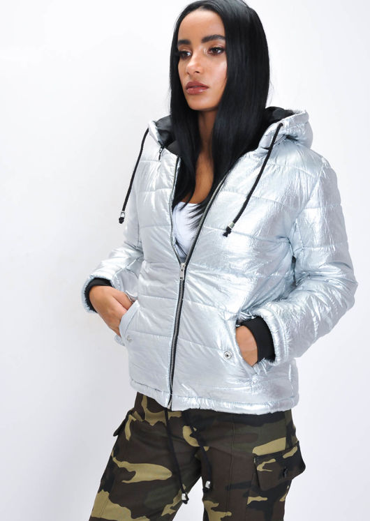 Crop Padded Hooded Puffer Coat Silver Grey