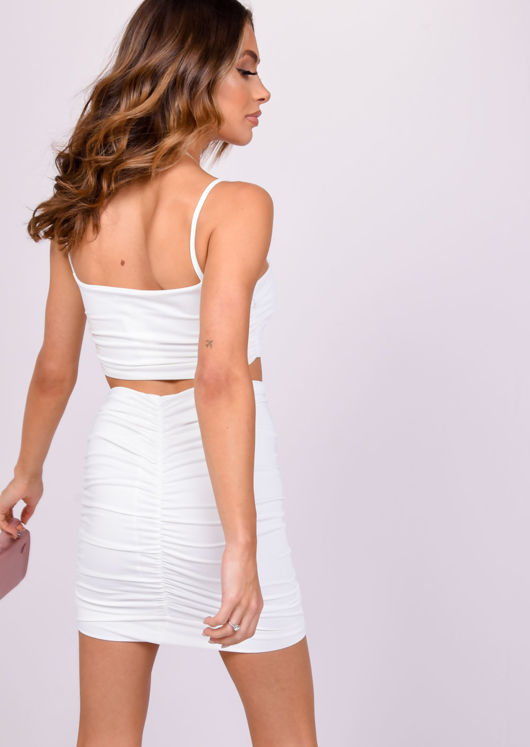 Crop Top Ruched Mini Skirt Co-ord Set White