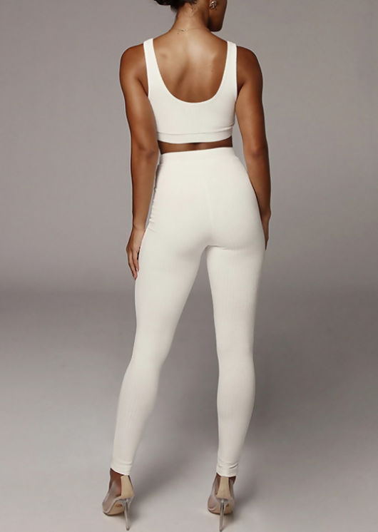 Crop Vest Top And Jogger Loungewear Co Ord Set White