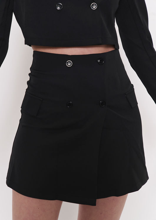 Cropped Blazer Jacket And Button Front Mini Skirt Co Ord Black