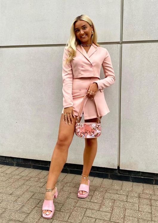 Cropped Blazer Jacket And Button Front Mini Skirt Co Ord Pink