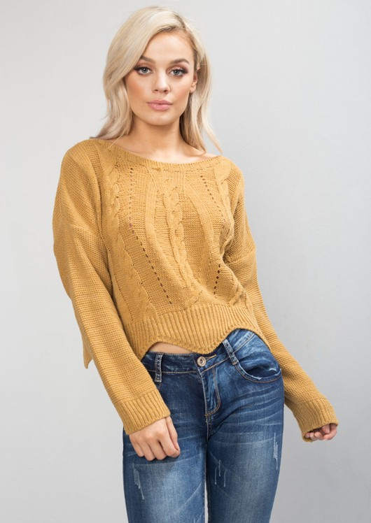 Cropped Cable Knit Jumper Mustard Yellow