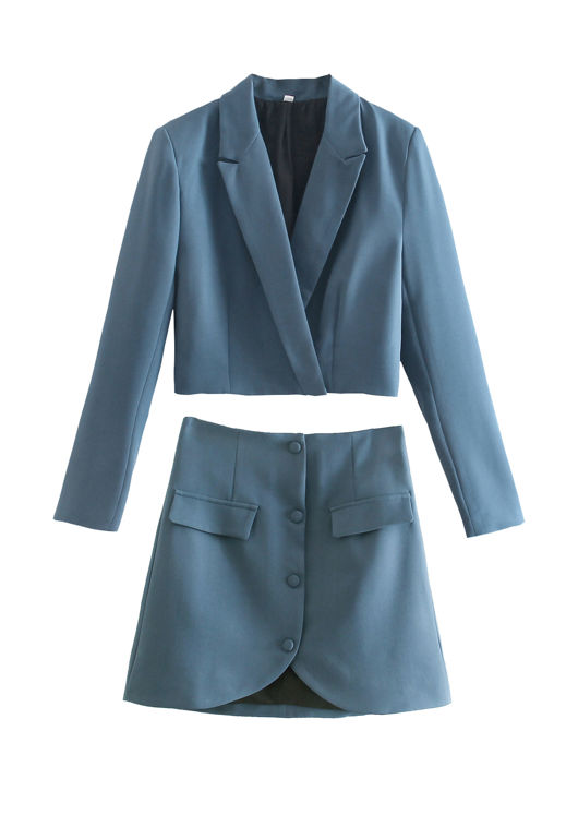 Cropped Collared Blazer Top And Front Buttoned Down Mini Skirt Co-Ord Set Blue