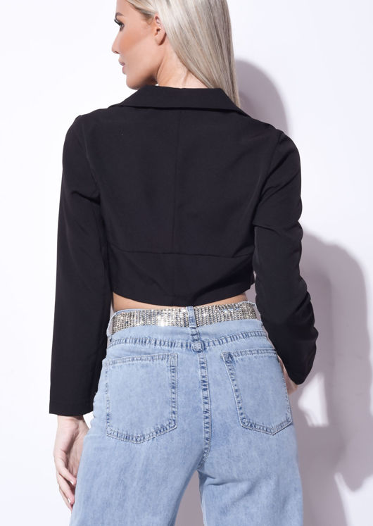 Cropped Corset Style Shirt Black