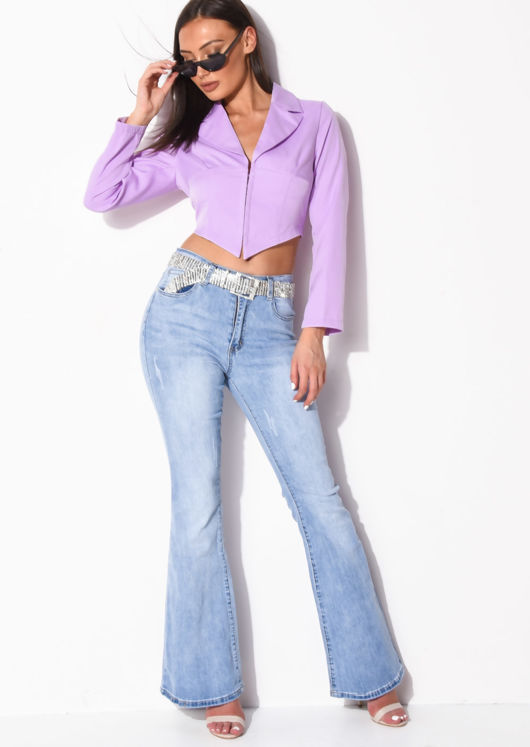 Cropped Corset Style Shirt Lilac Purple