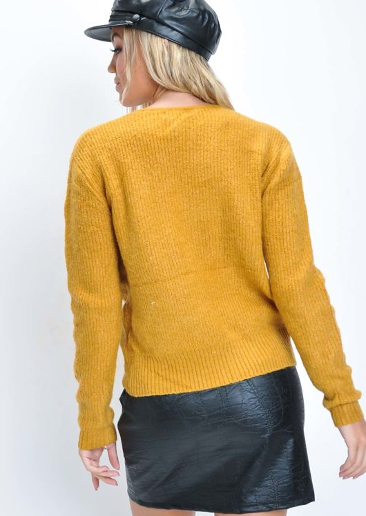 Cropped Drawstring Knitted Jumper Mustard Yellow