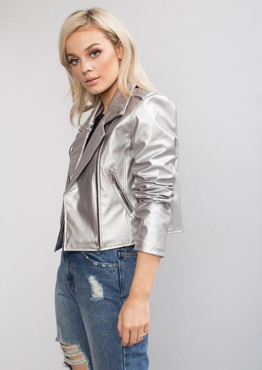 Cropped Faux Leather Biker Jacket Silver