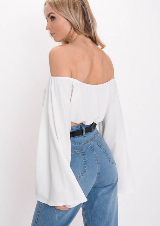 Cropped Flare Sleeve Top White