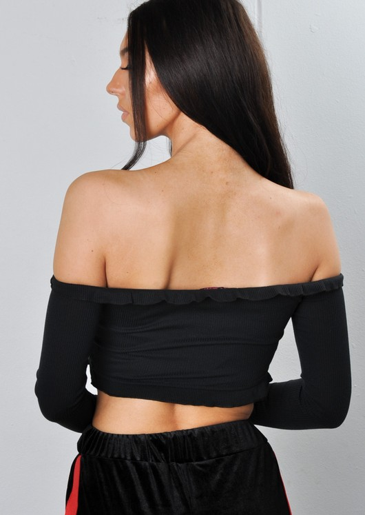 Cropped Frill Bardot Top Black