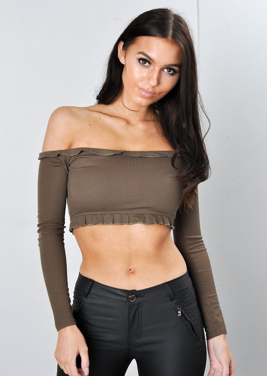 Cropped Frill Bardot Top Khaki Green