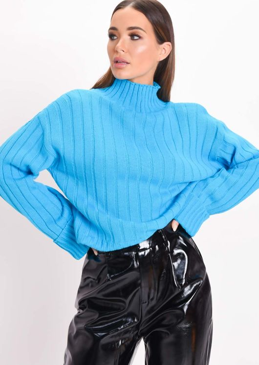 Cropped Knitted Turtleneck Jumper Neon Blue