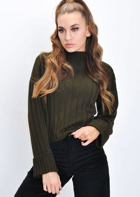 Cropped Knitted Turtleneck Jumper Khaki Green