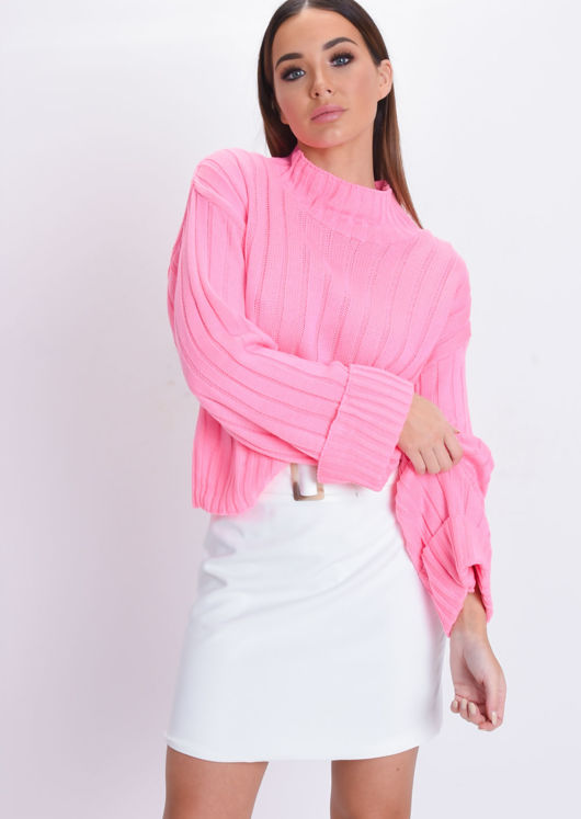 Cropped Knitted Turtleneck Jumper Neon Pink
