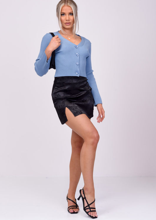 Oversized Cropped Ribbed Button Down Cardigan Top Blue