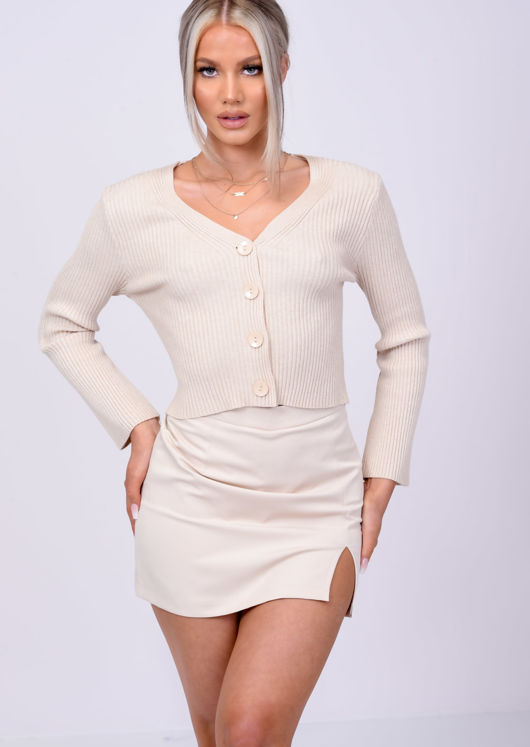 Cropped Ribbed Knitted Button Down Cardigan Top Beige