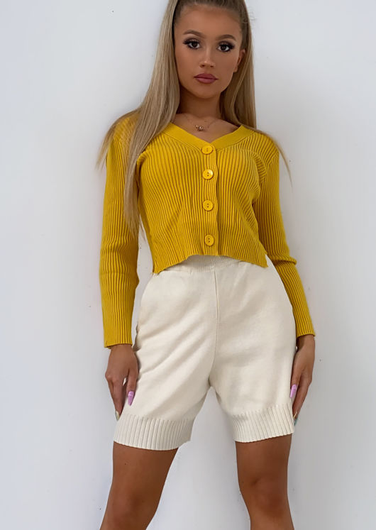 Cropped Ribbed Knitted Button Down Cardigan Top Yellow