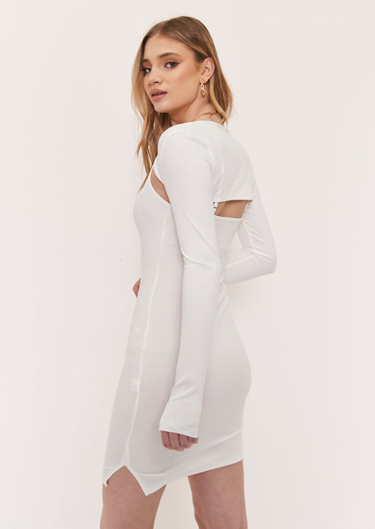 Cropped Ribbed Cardigan Mini Cami Dress Two Piece Set White
