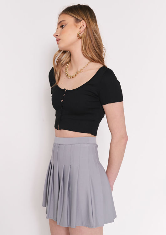 Cropped Ribbed Short Sleeve Button Cardigan Top Black