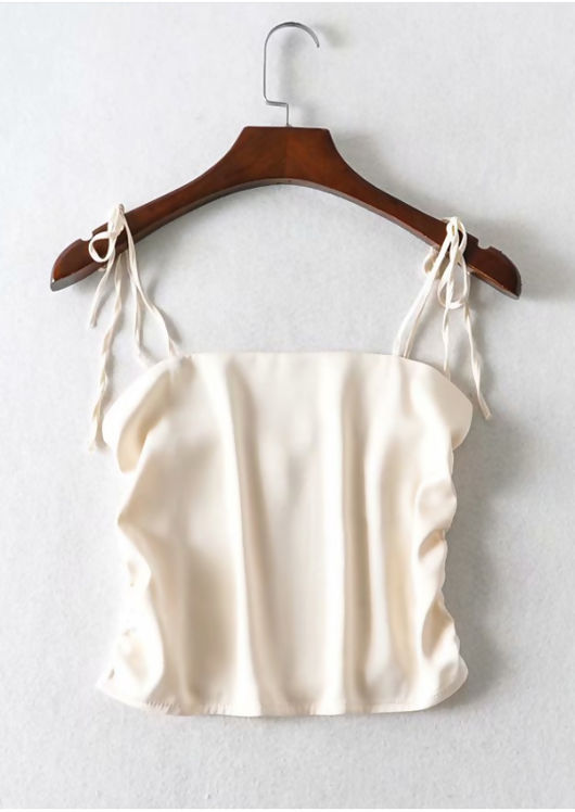 Cropped Ruched Tie Up Shoulder Satin Top Beige