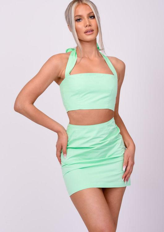 High Waisted A Line Mini Skirt Green