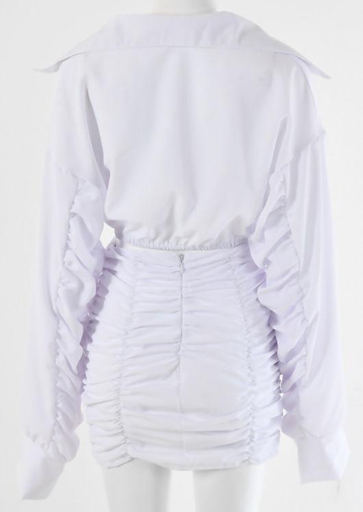 Cropped Shirt Shirred Mini Skirt Co Ord Set White