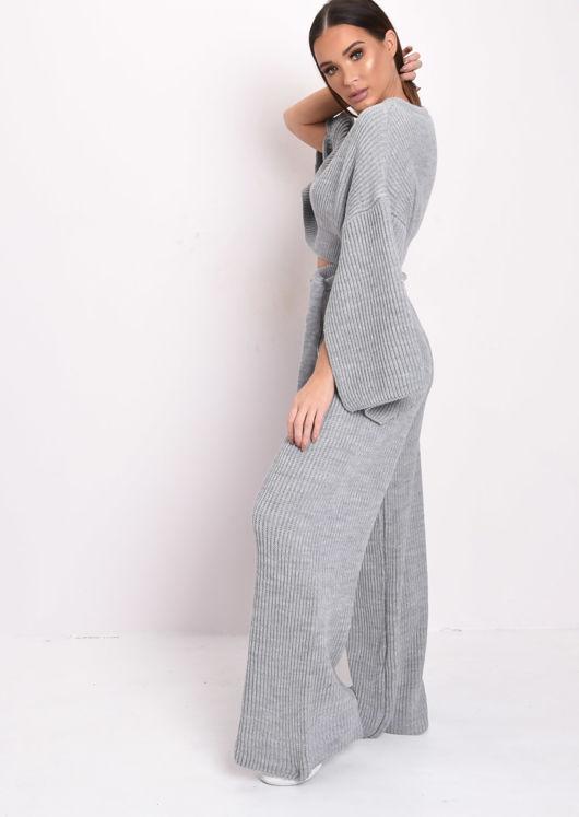Cropped Slit Sleeve Ribbed Knit Lounge Co Ord Set Grey