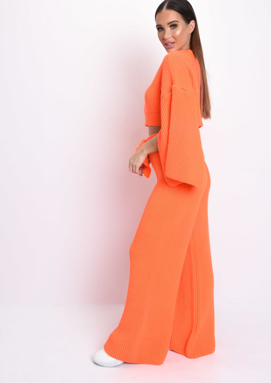 Cropped Slit Sleeve Ribbed Knit Lounge Co Ord Set Neon Orange