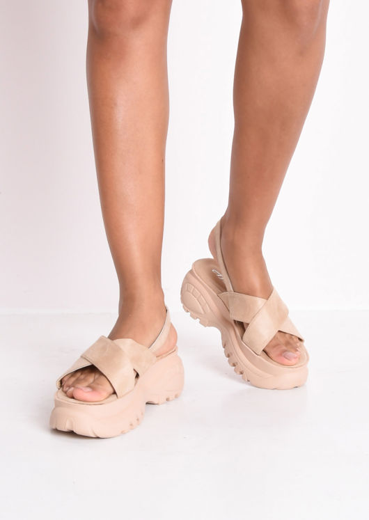 Cross Over Chunky Platform Sandals Beige