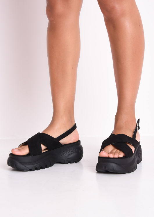 Cross Over Chunky Platform Sandals Black