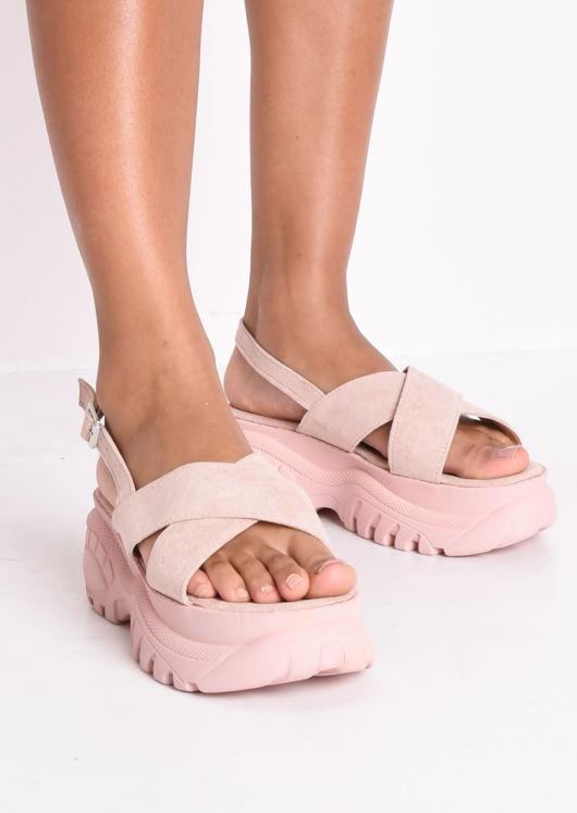 Cross Over Chunky Platform Sandals Pink