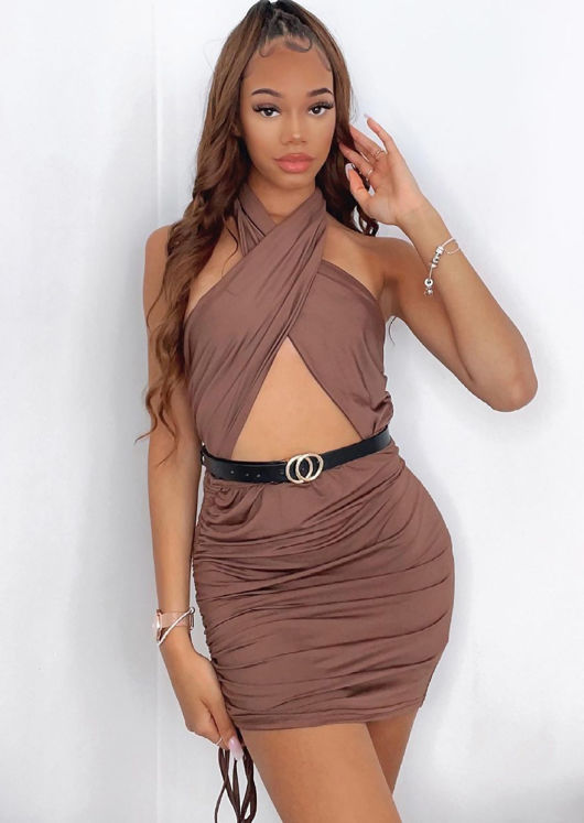 Cross Over Halterneck Cut Out Side Ruched Mini Bodycon Dress Brown