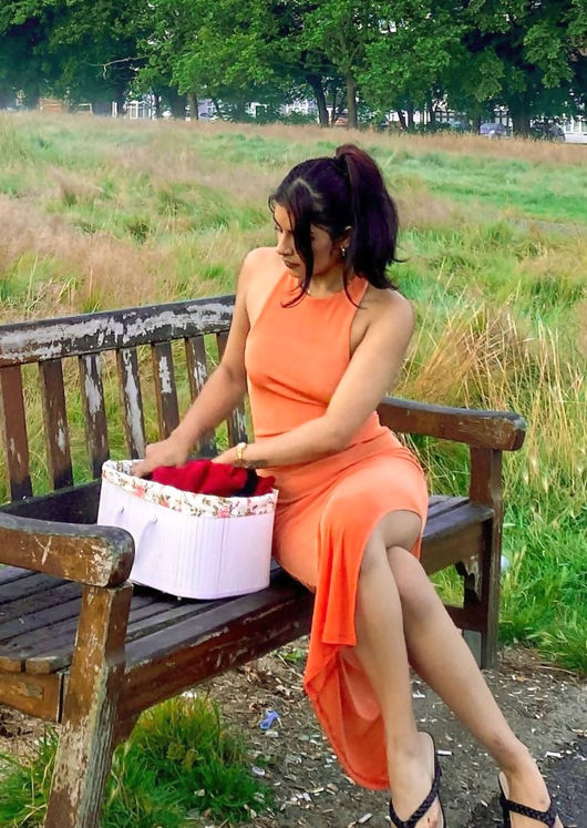 Slinky Cross Over Back Strapped Open Back Side Split Midi Dress Orange