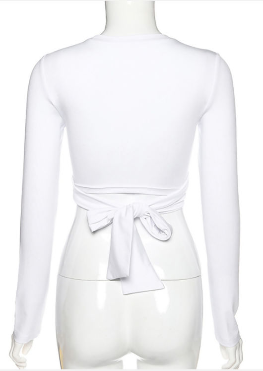 Cross Over Tie Back Long Sleeve T shirt Crop Top White