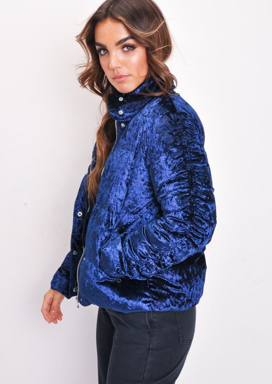 Crushed Velvet Cropped Padded Puffer Jacket Blue