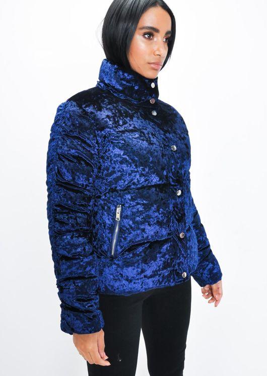 Crushed Velvet Cropped Padded Puffer Jacket Blue