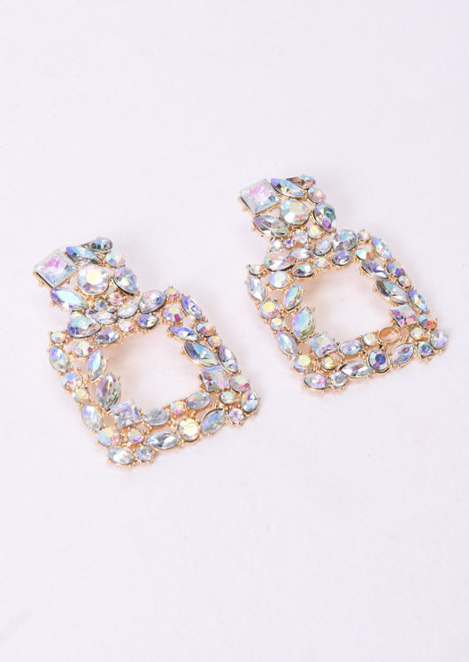 Crystal Square Drop Statement Earrings Gold