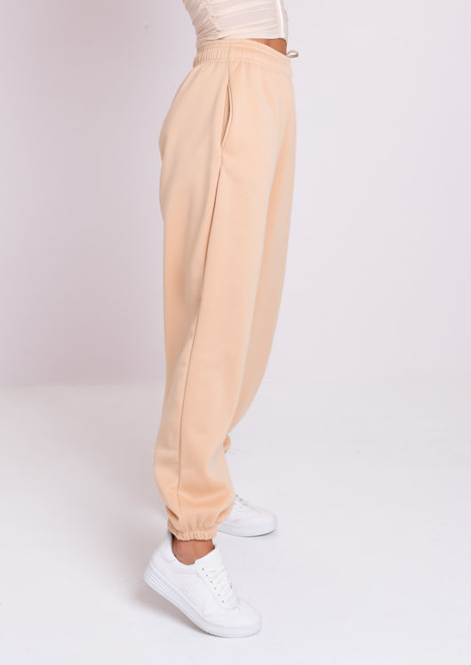 Cuffed High Waisted Oversized Jogger Trousers Beige