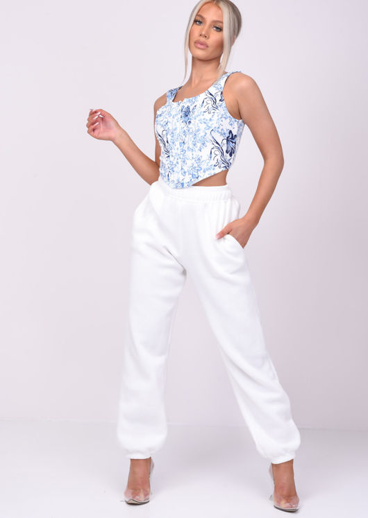 Cuffed High Waisted Oversized Jogger Trousers White