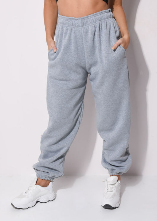 Cuffed High Waisted Oversized Jogger Trousers Grey
