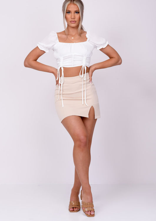Cup Detail Shirred Drawstring Puff Sleeve Crop Top White