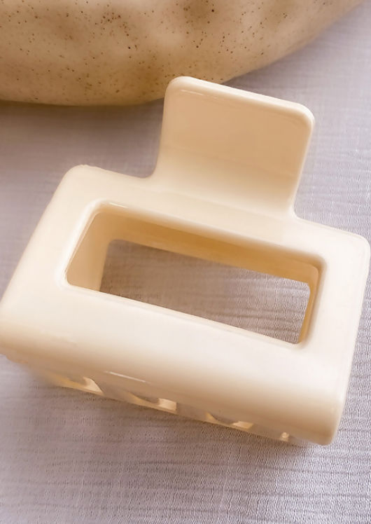 Cut Out Rectangle Shaped Hair Claw Beige