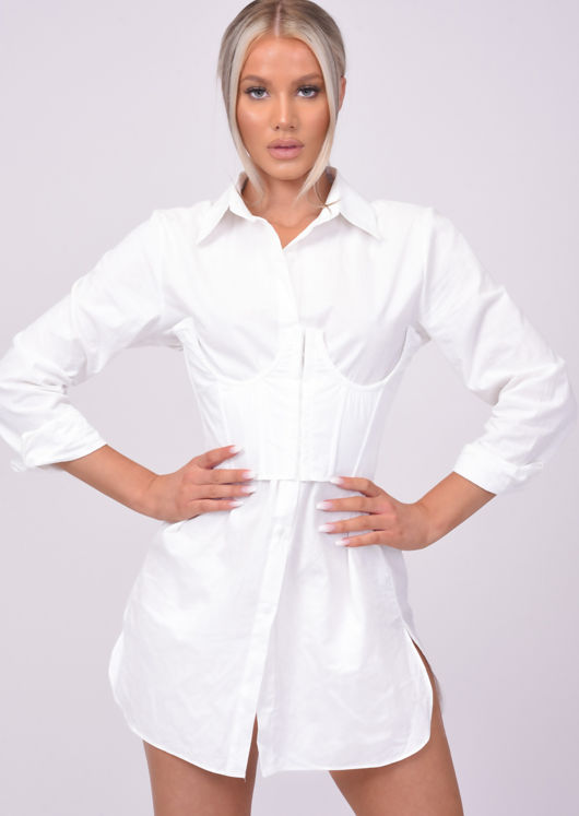 Cut Out Structured Cup Enhanced Corset Top White