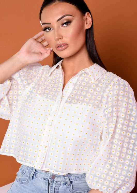 Daisy Print Puff Sleeve Blouse Top White