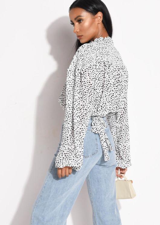 Dalmatian Animal Print Shirred Blouse Top White