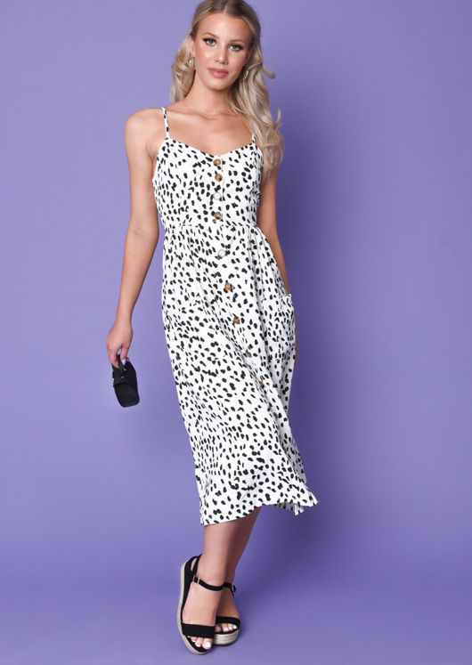 Dalmatian Print Button Through Midi Dress White