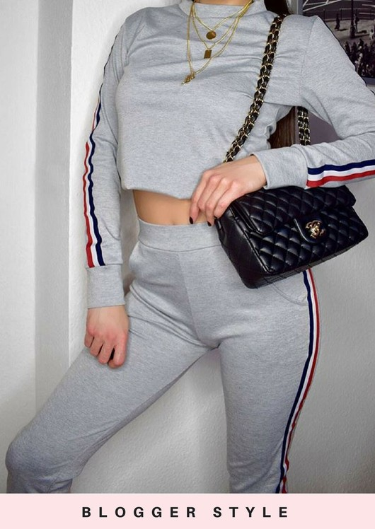 Jersey Side Stripe Loungewear Co Ord Set Tracksuit Grey
