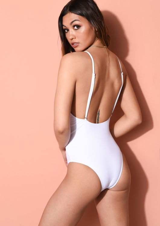 Deep Plunge V Neck Tie Waist Swimsuit White